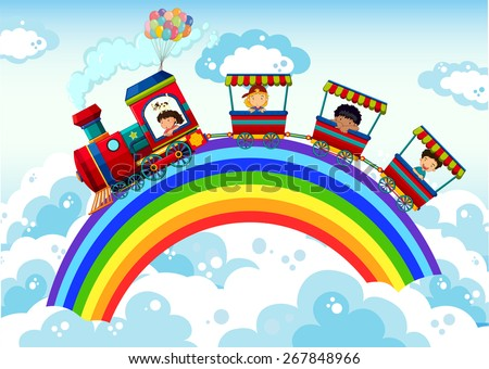 train riding on the rainbow in