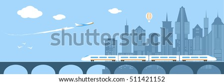 Train running through city. Railway and bridge. Transportation over river. Modern city infrastructure. Plane flies over skyscrapers. Horizont panorama. Flat style vector illustration