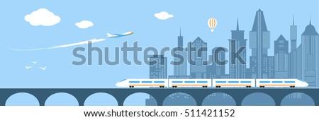 train running through city