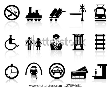 Train station and service icons - stock vector
