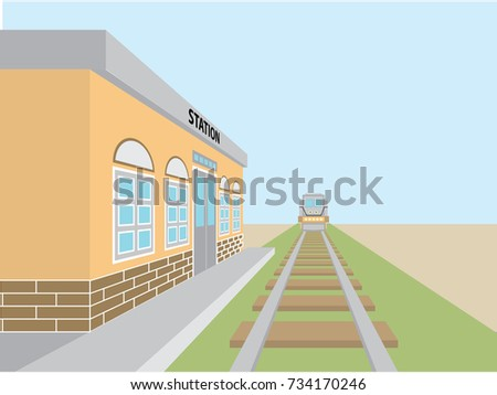 train station vector design