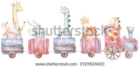 train, steam engine with animals and dinosaurs  children's  illustration on a white background Сток-фото ©