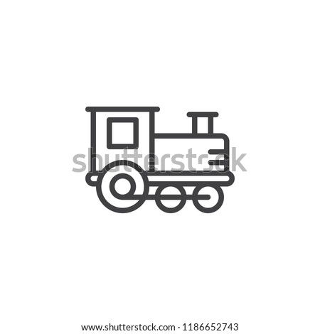 Train toy outline icon. linear style sign for mobile concept and web design. Locomotive toy simple line vector icon. Symbol, logo illustration. Pixel perfect vector graphics