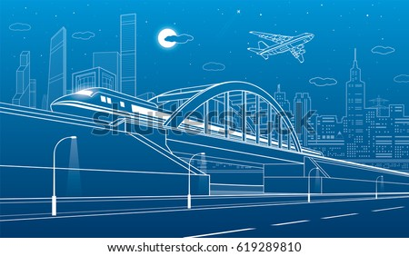 Train traveling along the railway bridge, highway. Urban infrastructure illustration, modern city on background, industrial architecture, towers and skyscrapers, airplane fly. Vector design art