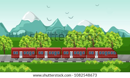 train traveling vector red