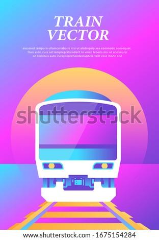 train vector sunrise landscape