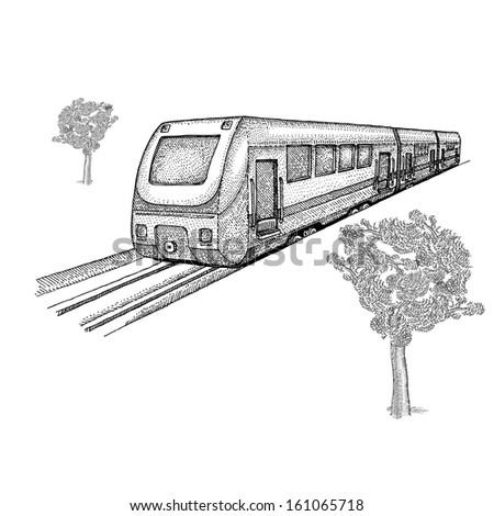 Train with trees