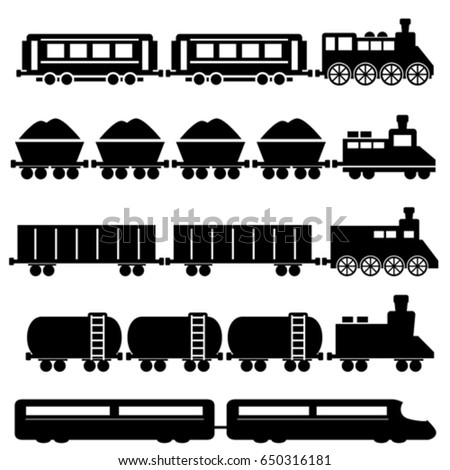 Train with wagons, railroad and subway