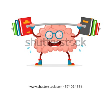 train your brain. brain vector cartoon flat illustration fun character creative design. education,science,smart,brain books fitness concept.train lifts with book barbell. isolated on white background