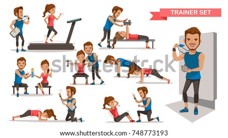 Trainer Personal  helping woman set. working with sit-up, heavy dumbbells,Timer, correct posture, and Use of fitness equipment, Cartoon character design. Vector illustrations.Isolated white background