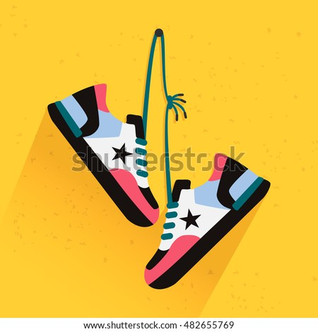 Trainers shoes hanging. Flat style illustration
