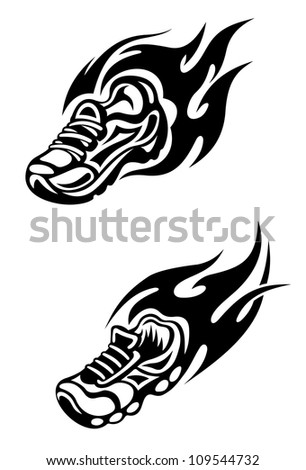 Trainers with tribal flames as a sports tattoo or mascot, such a logo. Jpeg version also available in gallery