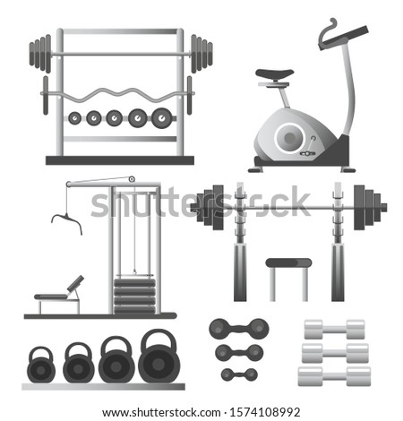 Training apparatus for gym, fitness workout equipment, weights and barbells, isolated objects vector. Spin bike and pulldown exercise trainer. Healthy lifestyle and sport, exercising devices