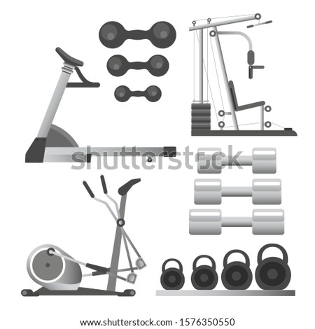 Training apparatus for gym, fitness workout equipment, weights and barbells, isolated objects vector. Spin bike and running track, healthy lifestyle and sport. Exercising devices, gaining muscles