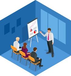 Training concept,  business man. Flat design illustration for business, consulting, finance, management, career meeting partnership planning conference coaching. Flat 3d vector isometric illustration