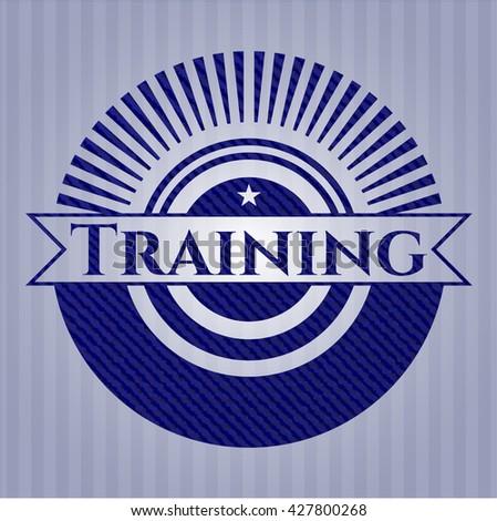 Training emblem with denim high quality background