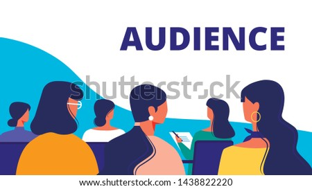 Training for Women. Woman Audience in Hall. Strategy Training for Women. Vector Illustration. Woman Holds Lecture. Standing in front Audience. Woman Communication Conference Hall. Business Training.