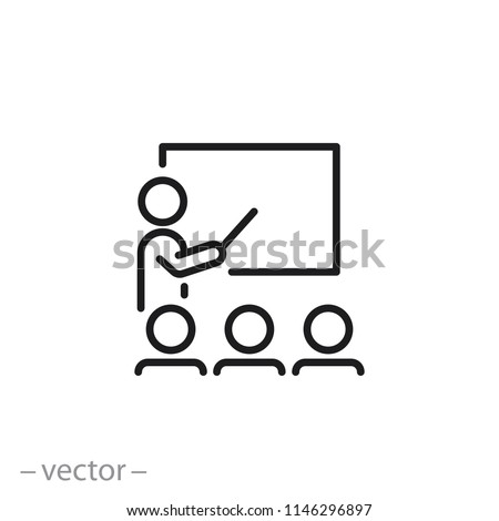 Training icon, workshop linear sign isolated on white background - editable vector illustration eps10
