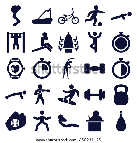 Training icons set. set of 25 training filled icons such as exercising, barbell, treadmill, push up, bar   tightening, abdoninal workout, heartbeat watch, meeting, karate