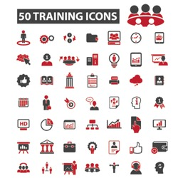 training, lessons icons