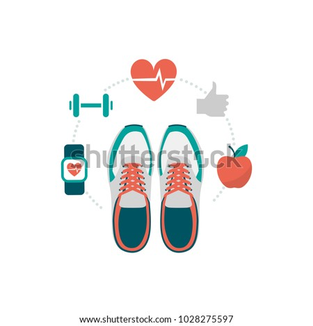 Training shoes and fitness icons: healthy lifestyle and workout concept