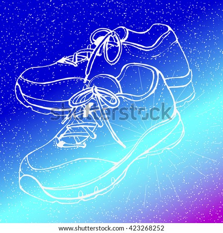 training shoes on space
