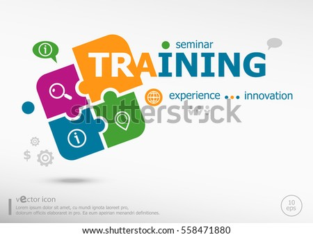 Training Word Cloud Concept on colorful jigsaw puzzle. Infographic business for graphic or web design layout