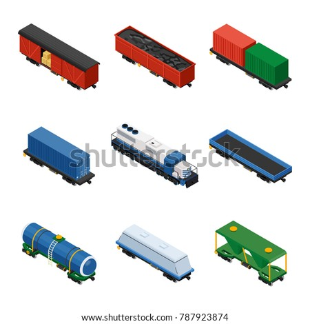 Trains isometric set of freight trains consisting of locomotives, platforms for transportation of containers, covered wagons, cisterns, and rail cars for bulk cargoes on white background.