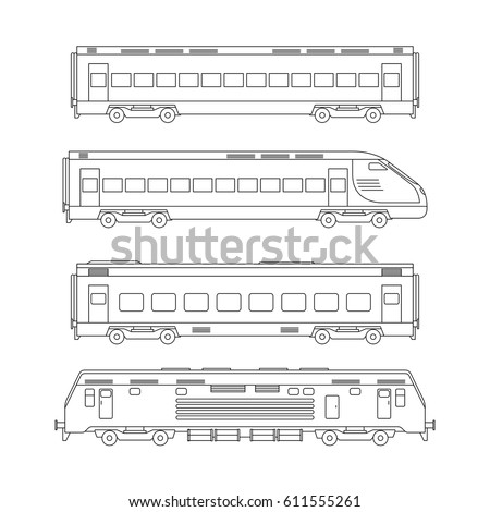 trains line drawing on white