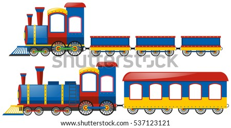 Trains with two types of wagons illustration