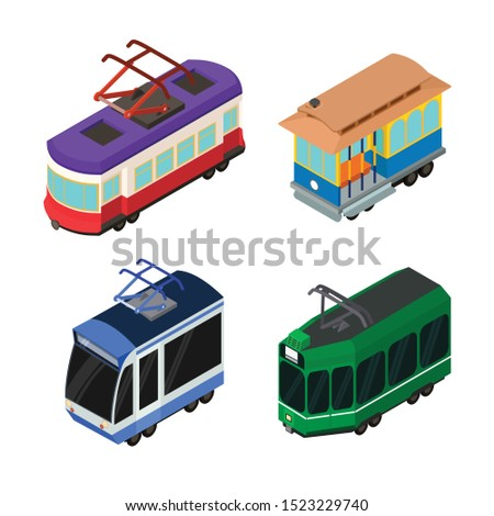 Tram car icons set. Isometric set of tram car vector icons for web design isolated on white background
