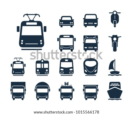 Tram icon. Collection of transport line icons.