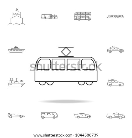 Tram icon. Detailed set of transport outline icons. Premium quality graphic design icon. One of the collection icons for websites, web design, mobile app on white background