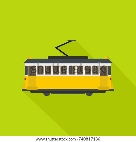 Tram icon. Flat illustration of tram vector icon for web