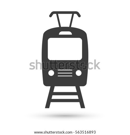 Tram icon. Flat vector illustration in black on white background. EPS 10