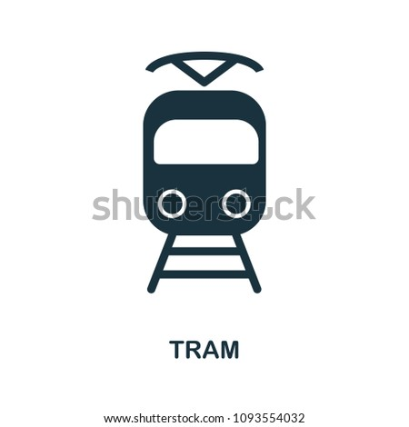 Tram icon in vector. Flat style icon design. Vector illustration of tram icon. Pictogram isolated on white.