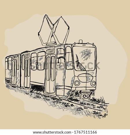 Tram isolated on white background. Public transport. Hand drawn retro tram sketch. City trolley. Passengers, people transportation service. Urban trolleybus design element. Stock vector illustration