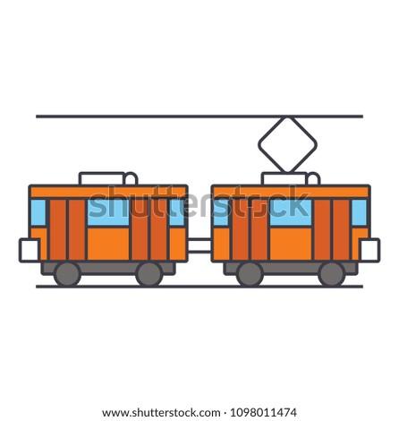 Tram line icon concept. Tram flat vector sign, symbol, illustration.
