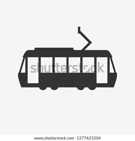 tram silhouette,vector icon.