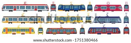 Tram vector cartoon set icon. Vector illustration streetcar on white background. Isolated cartoon set icon tram.