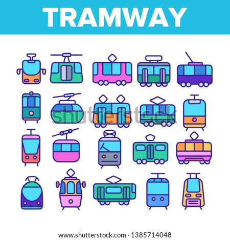Tramway, Urban Transport Thin Line Icons Set. Tramway, Eco-Friendly Vehicle Linear Illustrations. Funicular, Cable Wagon, Subway Passenger Transportation. Vintage Tourist Sightseeing Tram