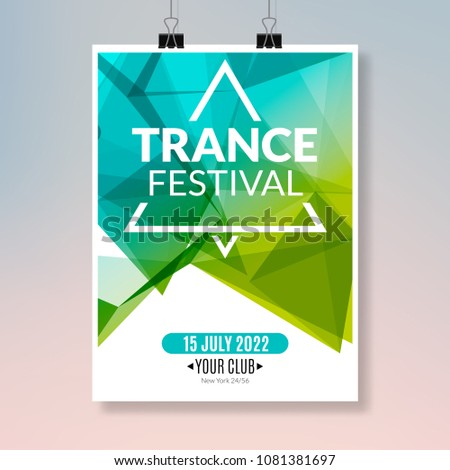 Trance dance music poster. Music party flyer banner design. Disco night club event template.