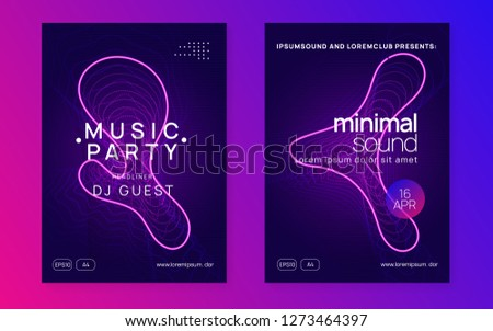 Trance event. Creative show magazine set. Dynamic gradient shape and line. Neon trance event flyer. Techno dj party. Electro dance music. Electronic sound. Club fest poster.