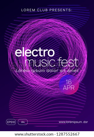 Trance party. Commercial concert cover layout. Dynamic gradient shape and line. Neon trance party flyer. Electro dance music. Electronic sound. Club dj poster. Techno fest event.