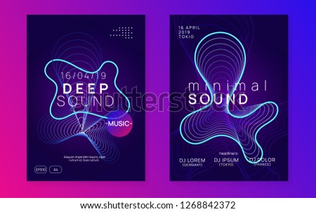 Trance party. Digital concert magazine set. Dynamic gradient shape and line. Neon trance party flyer. Electro dance music. Electronic sound. Club dj poster. Techno fest event.