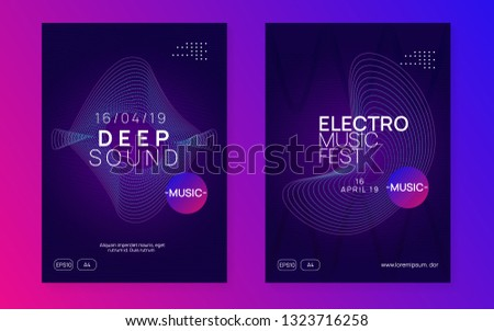 Trance party. Dynamic gradient shape and line. Minimal discotheque invitation set. Neon trance party flyer. Electro dance music. Electronic sound. Club dj poster. Techno fest event.