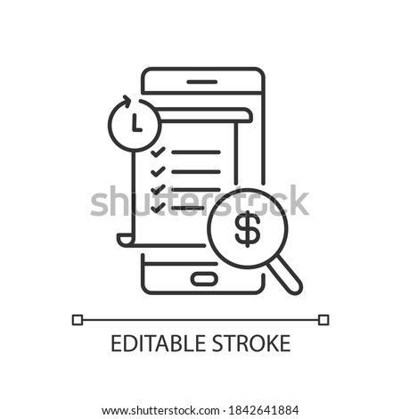 Transaction history linear icon. E wallet application. Mobile banking app using. Payments report. Thin line customizable illustration. Contour symbol. Vector isolated outline drawing. Editable stroke ストックフォト ©