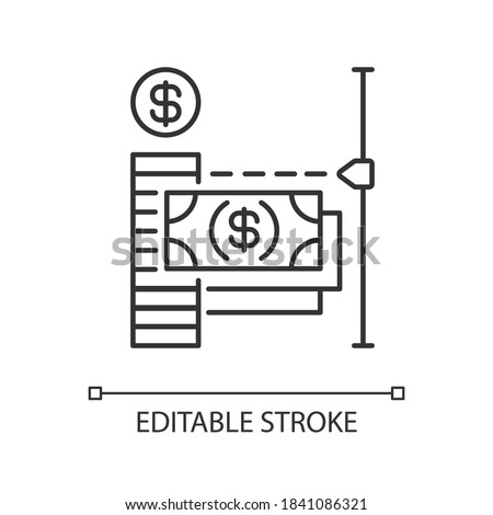 Transaction limit linear icon. Limit for online payment. Maximum amount of money loan. Thin line customizable illustration. Contour symbol. Vector isolated outline drawing. Editable stroke Foto d'archivio ©