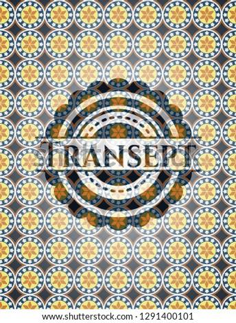 Transept arabic emblem background. Arabesque decoration.