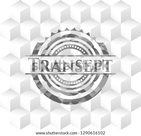 Transept grey emblem with geometric cube white background